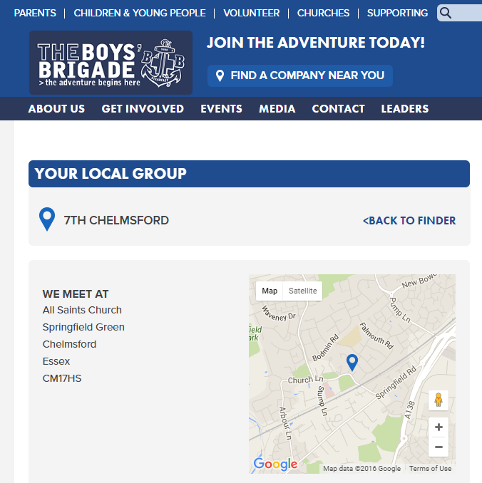 The main Boys Brigade website